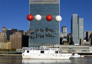 Earth To Bush Banner Action At UN