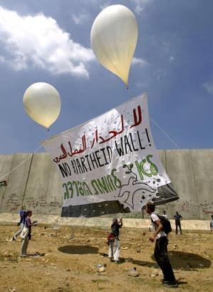 No Apartheid Wall Palestine Banner Raise