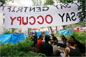 We Say Occupy Banner At Harlem Tent City